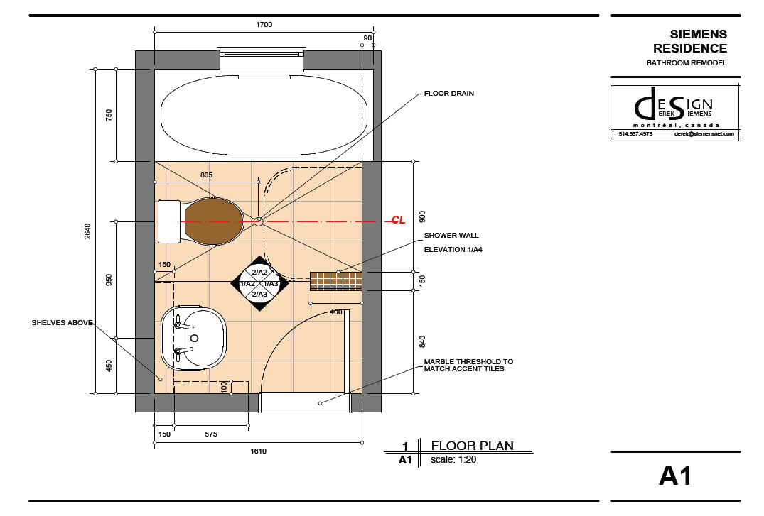 Highdesign gallery derek siemens krebs design for Small 3 4 bathroom floor plans